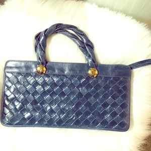 Navy Woven Leather Handbag